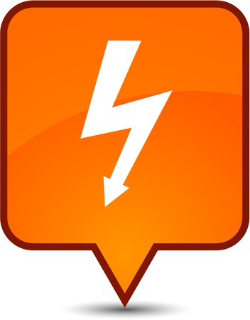 warning  glossy speech square icon.  Vector