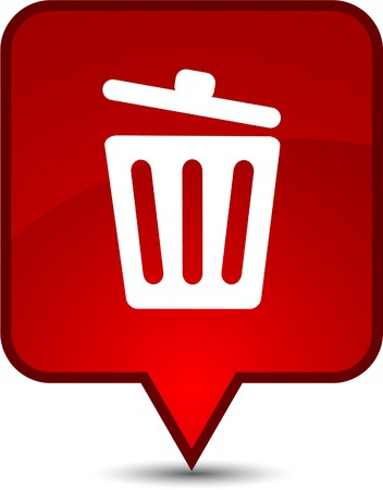 Recycle bin.  glossy speech square icon.  Vector