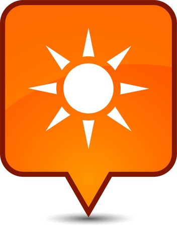 Sun  glossy speech square icon.  Vector