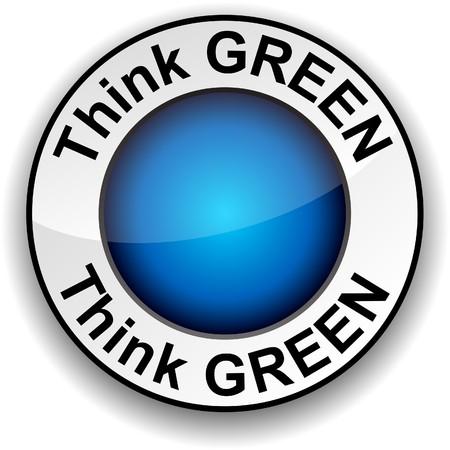 think green: Pensar en verde ronda bot�n brillante.  Vectores