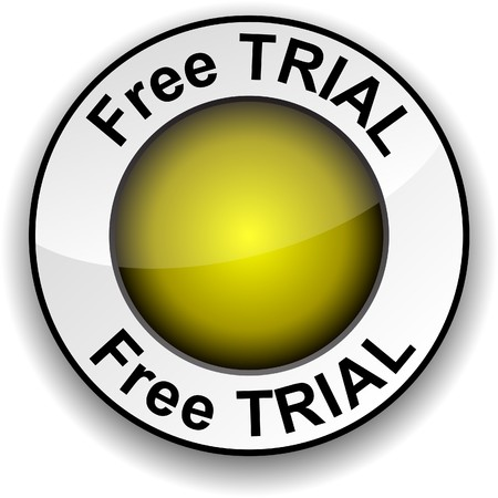 free trial: Free trial  round glossy button.   Illustration