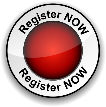 Register now round glossy button.