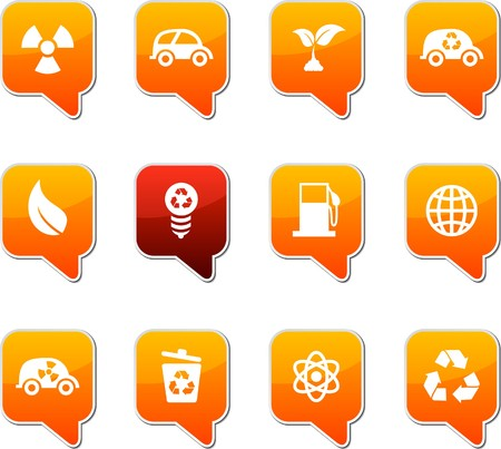 Ecology  set of square speech icons. Stock Vector - 7535325
