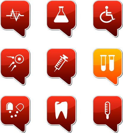 Medical set of square speech icons. Vector