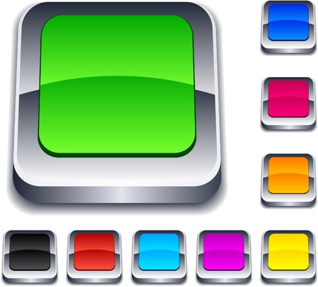 Blank 3d square buttons. Stock Vector - 7765280