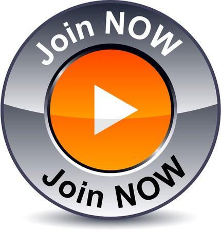 Join now round metallic button. Vetores
