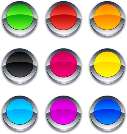 Blank 3d round buttons. Stock Vector - 7813670