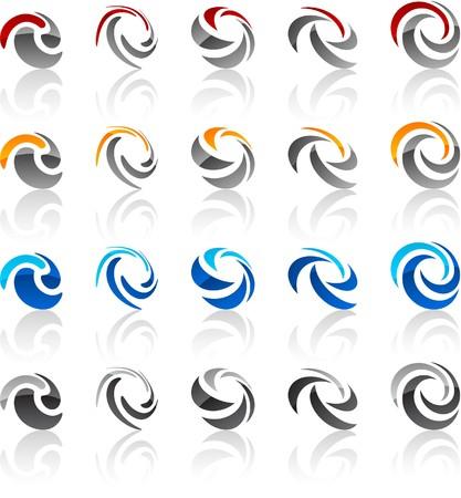 convex:  illustration of rotate symbols.  Illustration