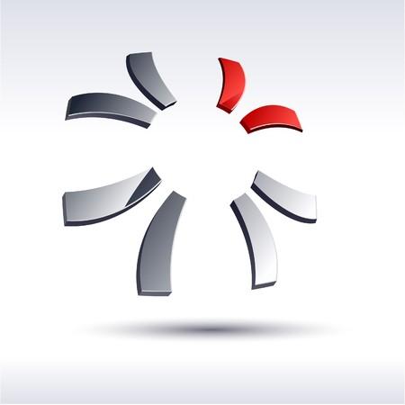 red metallic: Abstract modern 3d sun logo.