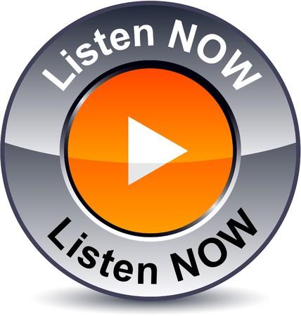 duymak:  Listen now round metallic button. Çizim