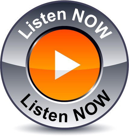 Listen now round metallic button. Vector