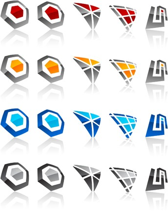 business logos:  illustration of geometric symbols.