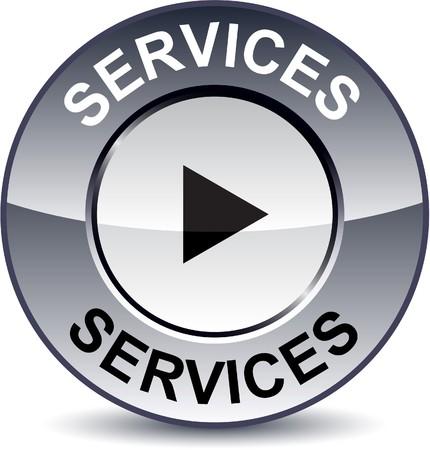 dienstverlening:  Diensten ronde metalen knop.  Stock Illustratie