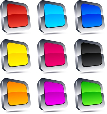 Blank 3d square buttons. Stock Vector - 7845044