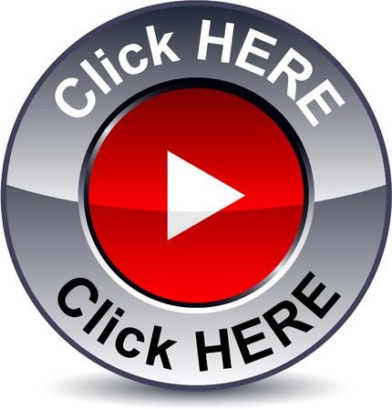 Haga clic aquí ronda botón metálico.  Ilustración de vector