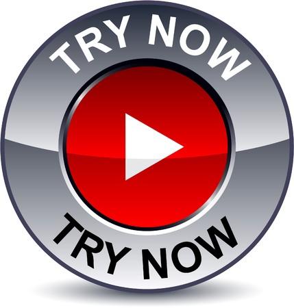 essayer: Essayez maintenant tour m�tallique de bouton.   Illustration