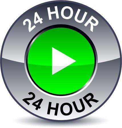 24 hour:  24 hour round metallic button.