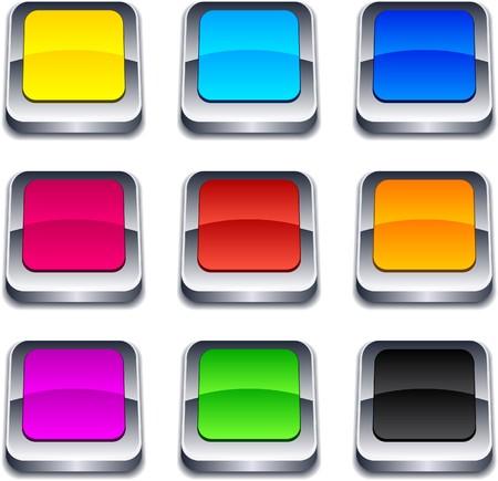 cuadrados: Botones cuadrados 3d en blanco.