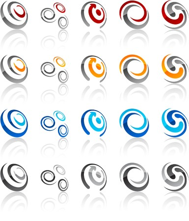 black swirls:  illustration of swirl symbols. Illustration