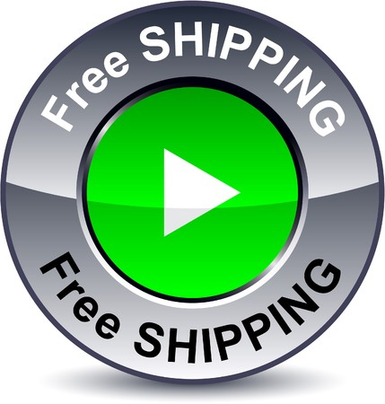 Free shipping round metallic button. Stock Vector - 7881224
