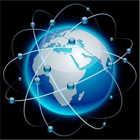 Terra comunicazione dettagliata alta blu.  Vettoriali