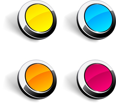 Blank 3d round buttons.  Stock Vector - 7881226