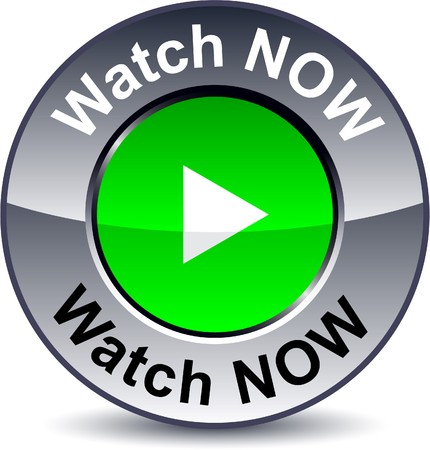 metallic button:   Watch now round metallic button.   Illustration