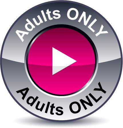 adult only: Adults only round metallic button.   Illustration