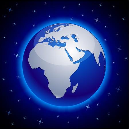 Blue neon high-detailed earth ball.  Vector