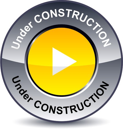 metallic button:  Under construction round metallic button.