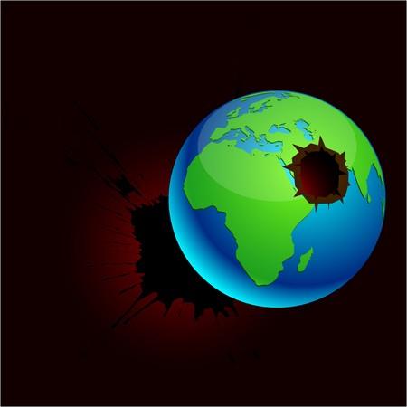 killed: Blue high-detailed killed earth.