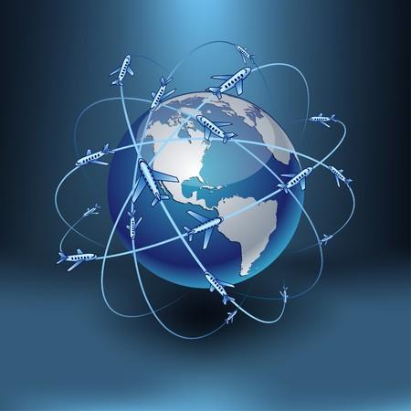 Blue high-detailed transportation Earth.   Stock Vector - 7933864