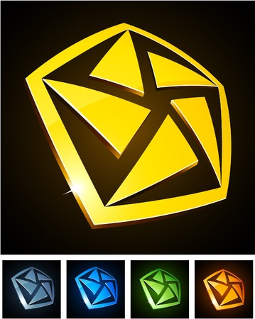 illustration of pentagon shiny symbols.  Vector