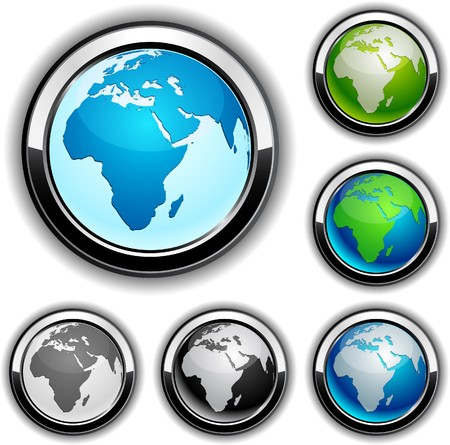 Africa high-detailed earth buttons.   Vector