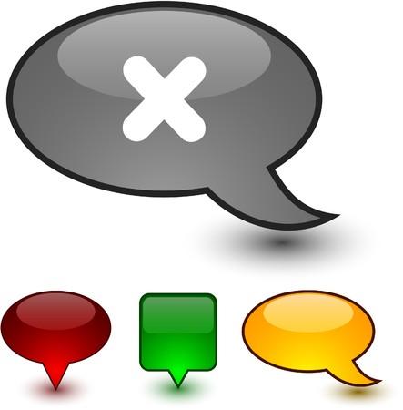 Cross  glossy speech  icons.  Vector