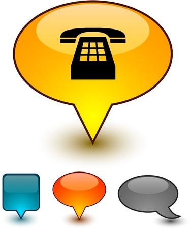 Telephone glossy speech  icons.  Stock Vector - 8001790