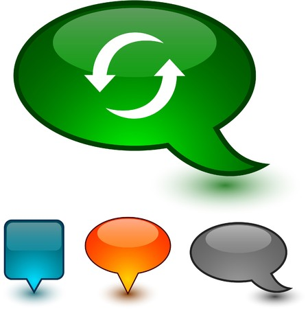 opfrissen: Vernieuw spraak glanzende pictogrammen. Stock Illustratie