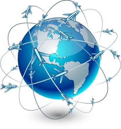 trajectoire: Bleu d�taill�es haute communication terrestre.  Illustration