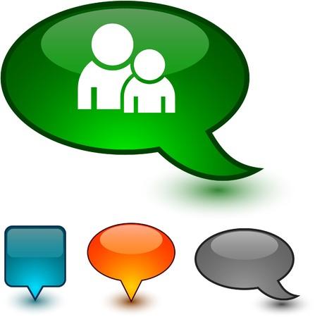 forum icon:  Forum glossy speech  icons.