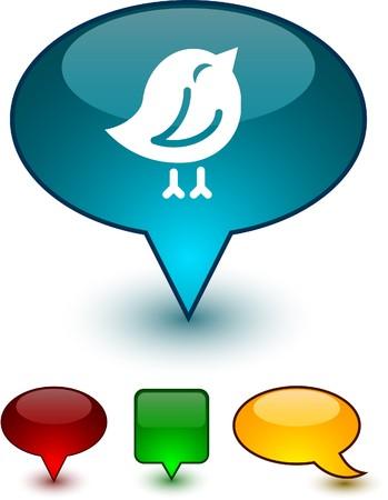 tweet balloon: Bird glossy speech icons.