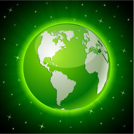 3d planets: Green neon high-detailed earth ball.   Illustration