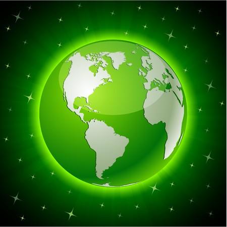planeta verde: Verde ne�n detallada de alta Tierra bola.  Vectores
