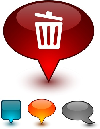Recycle bin glossy speech   icons.  Vector