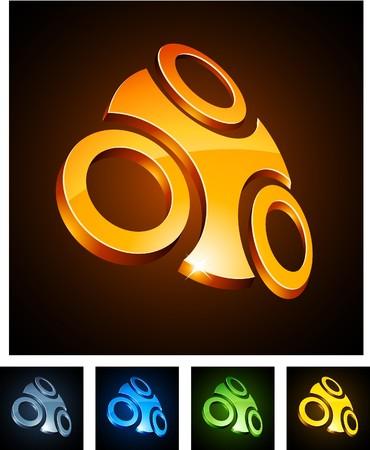 convex shape:  illustration of 3d shiny symbols.