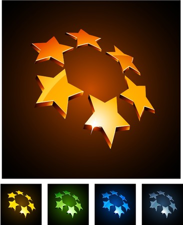 star logo:   illustration of 3d constellation symbols.  Illustration