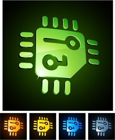 microprocessor:  illustration of CPU shiny symbols.