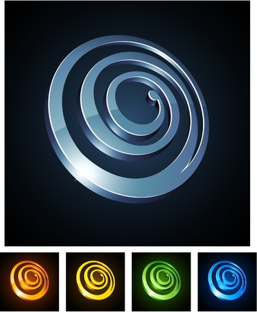 illustration of 3d round spirals.  Vector
