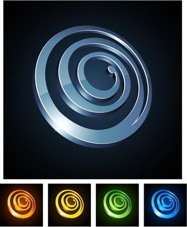 illustration of 3d round spirals.  Vector