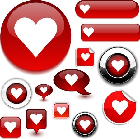 internet love: Love glossy icons.