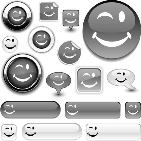 Smiley vector grey icons. Stock Vector - 8477756